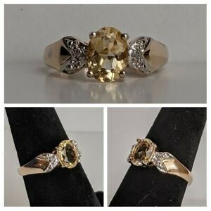Ross Simons Sterling Silver Ring Citrine & Diamond Accents 2.6g Sz 5.75