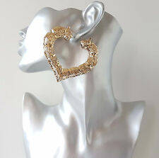 Gorgeous 7cm gold tone heart bamboo creole hoop earrings. Big Celebrity fashion!