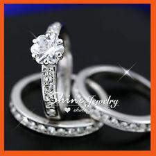Simulated Diamond White Gold Engagement & Wedding Ring Sets