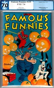 FAMOUS FUNNIES #135- PGX 7.0- F/VF COPY HALLOWEEN CVR- 1945 WWII
