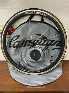 Campagnolo Shamal Aluminum Black 40mm deep 700c Front Road Wheel. Tubular fit.