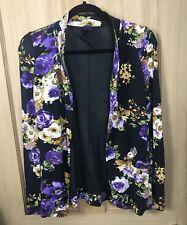 Next Floral Jacket Cardigan 6 Waterfall Draped Blazer Edge To Edge Small Jersey