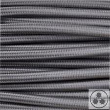 Textilkabel Stoffkabel Lampen-Kabel Stromkabel Elektrokabel Grau 3 adrig
