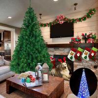 Christmas Pine Tree w/100 LED Lights & Stand PVC Xmas 2'/5'/6' FT Decor Tree USA