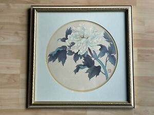 Asian Style Lithograph Print of Peony Flower & Vine