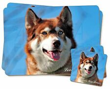 Red Husky Dog 'Love You Mum' Twin 2x Placemats+2x Coasters Set in G, AD-H68lymPC