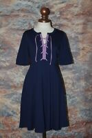 Maeve Anthropologie Fit & Flare Lace-Up Tie Front Dress XS Navy Purple