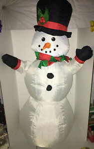 """Home Accent Holiday Christmas 42"""" LED Lighted Snowman Airblown Inflatable Gemmy"""