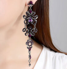 BLACK GUN METAL PLATED & GENUINE CUBIC ZIRCONIA LONG STATEMENT PURPLE EARRINGS