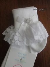 GIRLS FRILLY ANKLE SOCKS WHITE IVORY LACE FRILL DIAMANTE BOW BABY CHRISTENING