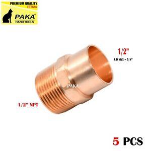 "1/2"" C x 1/2"" Male NPT Threaded Copper Adapters ( 5 PCS )"