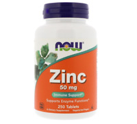 NEW NOW FOODS DIETARY SUPPLEMENTS MINERALS ZINC IMMUNE SUPPORT 50MG 250 TABLETS