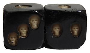 Skull Dice Pair 6 Sided Resin Skeleton Party Drinking Game Demonic Satanic USA