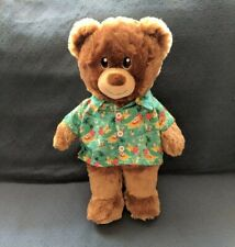 "Build A Bear Teddy Hawaiian Shirt Cool Eyebrows Stuffed Animal 16"" Euc Rescue"