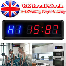 "1.5"" 6 Digits Screen Gym Interval Timer Wall Clock Stopwatch + Remote Control UK"