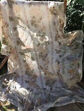 "VINTAGE PRELOVED EARLY 1970'S NYLON FLORAL RUFFLED BEDSPREAD 34"" X 72"" + 19"" RUF"