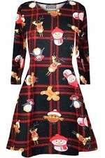 Kids Christmas Family Costume Outfit Baby Girls Print Xmas Swing Fancy Dresses