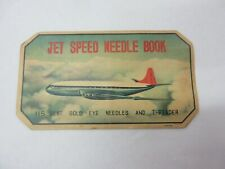 VINTAGE ADVERTISING  JET SPEED NEEDLE BOOK  COLLECTIBLE   S-837