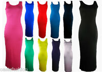 NEW IN LADIES WOMENS PLAIN SLEEVELESS VEST LONG MAXI DRESS SIZES 8-14