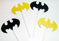 Hand Crafted 12 Batman Cupcake Toppers ~ Yellow and Black (231C)