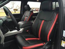 BLACK RED KATZKIN LEATHER REPLA SEAT CVRS FIT 2015-2017 FORD F150 SUPER CREW XLT