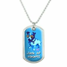 Jack of Hearts Russell Terrier Retro Dog Tag Pendant with Chain