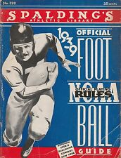 1939 SPALDING'S OFFICIAL RULES & NCAA FOOTBALL GUIDE