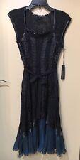 NWT Komarov Embellished Pleated Chiffon Dress Black Teal Size S Small