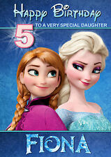 Frozen Anna And Elsa Disney Birthday Card ANY NAME AGE RELATIVE! Personalised
