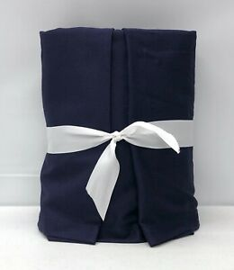 """NEW Pottery Barn Basic Pleated QUEEN Bedskirt w/18"""" Drop~Cadet Navy Blue Twill"""