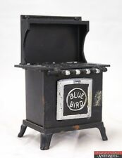 """Vintage """"Blue Bird"""" Black Silver Cast Iron Child's Toy Stove Oven Door Ope"""
