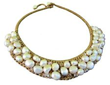 Chunky Pearl Statement Necklace White Freshwater Cultured Baroque Handmade Beige