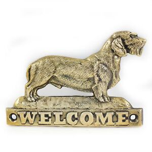 Dachshund wirehaired - brass tablet with image of a dog, Art Dog USA