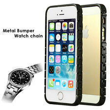 Apple iPhone 5 5S Case, Luxury Metal Watch Chain Aluminium Bumper Cover Case