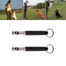 2 x Dog Training Whistle Black UltraSonic Obedience Stop Barking Pet Sound Pitch