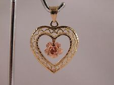 Pre-Owned 14K Yellow Beverly Hills Gold w/ Pink Rose Filigree Pendant