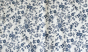 Vintage Blue and White Fabric Piece, 68 inches y 48 inches, Floral Design