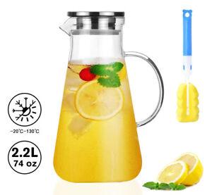 2,2L Glas Wasserkaraffe Wasserkrug Kühlkaraffe Glaskaraffe mit Edelstahl Filter