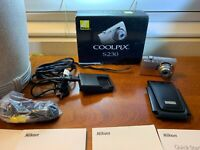 Nikon COOLPIX S230 10.0MP Digital Camera SILVER + ALL Accessories ETC WORKS