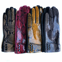 Ladies Snake Skin Winter Warm Soft Suede Fleece Lined Thermal Womens Cosy Gloves