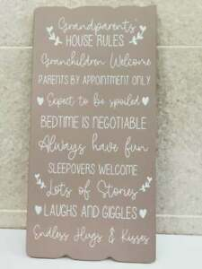 Large Grandparents House Rules Wooden Wall Sign Home Decor Gift