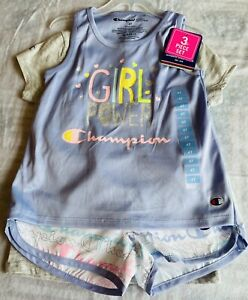 Champion Toddler girls 3-piece shorts set. Tank, T-shirt and shorts Sz 4T