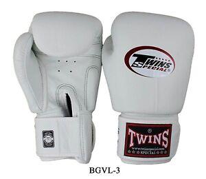 Twins  Boxing Gloves BGVL-3 White  8,10,12,14,16 oz Sparring  MuayThai  MMA K1
