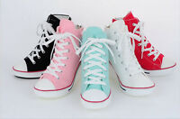 """Womens Elevator Shoes 3.5""""(9cm) up High Heel Canvas Sneakers Casual Boots"""