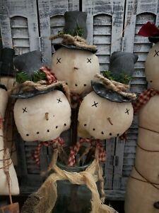 Primitive Snowmen Pokes/sticks/ornies Set Of 3 CHRISTMAS DECOR 13 Inches Tall