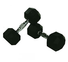 10KG PAIR OF COMMERCIAL RUBBER HEX DUMBBELLS CHROME HANDLE  FIXED WEIGHT GYM