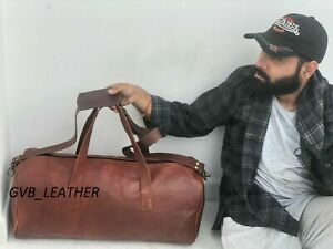 """24"""" Luggage Holdall Bag Leather Large Single Compartment Duffel Weekend"""