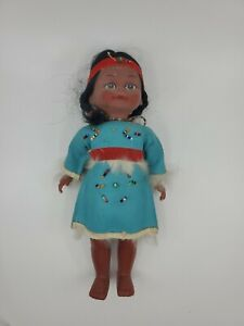 """Vintage Native American Indian Girl Doll With Baby Papoose 10"""" Tall"""