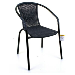 GARDEN OUTDOOR PATIO CHAIRS BLACK FRAME GREY WICKER RATTAN CAFE SEAT FURNITURE