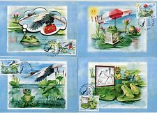 1045 SERBIA 2016 - Children`s Stamp - A Frog is Reading a Newspaper - Max.Cards